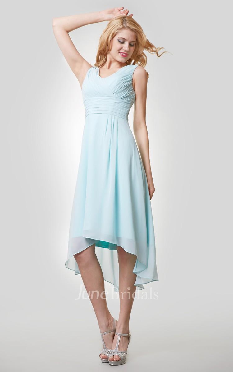 High-Low Chiffon Sleeveless V-Neck Dress With Ruching ...