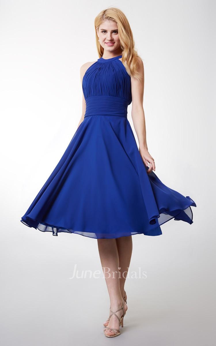 A Line High Neck Tea Length Bridesmaid Dress With Keyhole