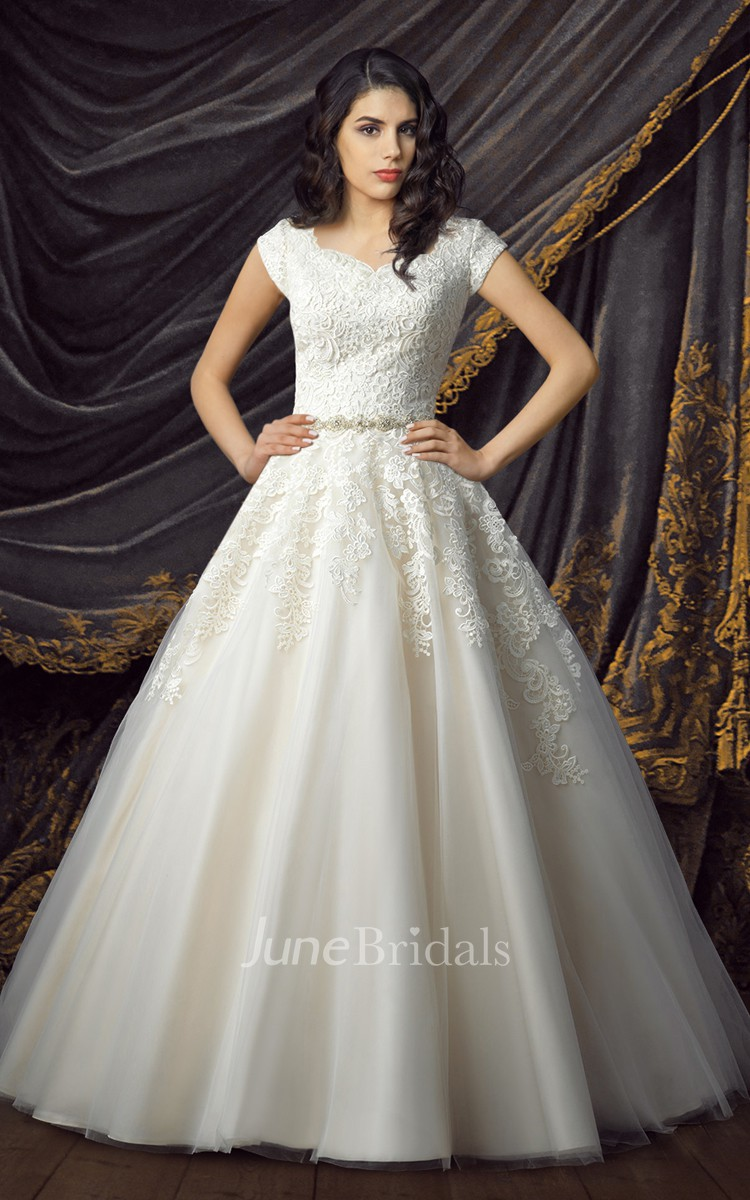 Royal Short Sleeve Ball Gown Wedding Dresses June Bridals