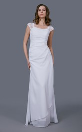 Illusion jewel neck cap sleeve high low chiffon wedding for Wedding dress for flat chest