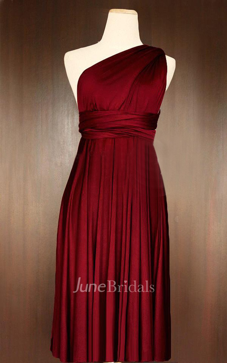 Short Straight Hem Wine Red Convertible Wrap Dress June