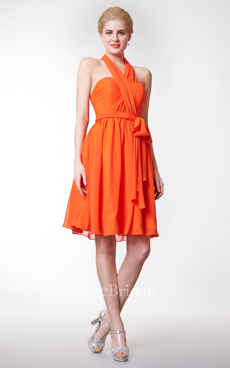 Sexy halter neck empire short chiffon dress with bow for Wedding dress stores orange county