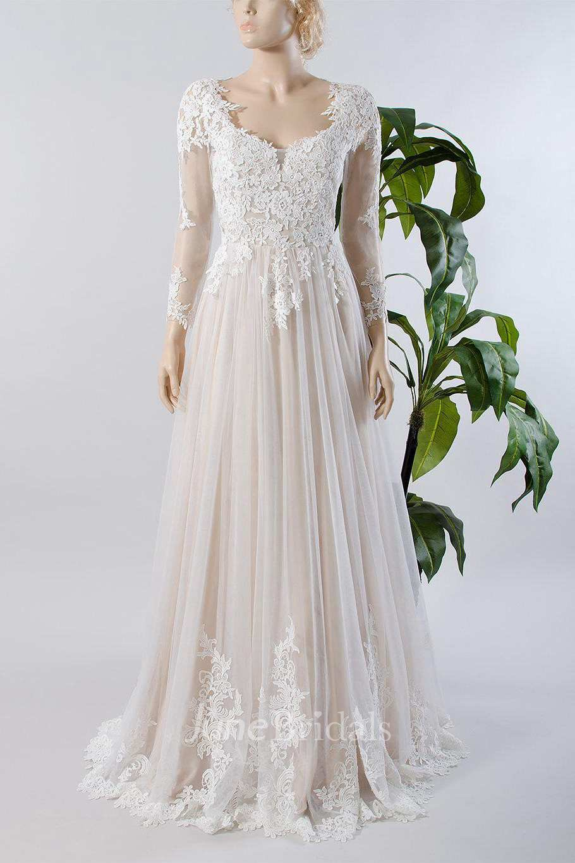 v neck illusion long sleeve lace appliqued tulle a line pleated wedding dress june bridals. Black Bedroom Furniture Sets. Home Design Ideas