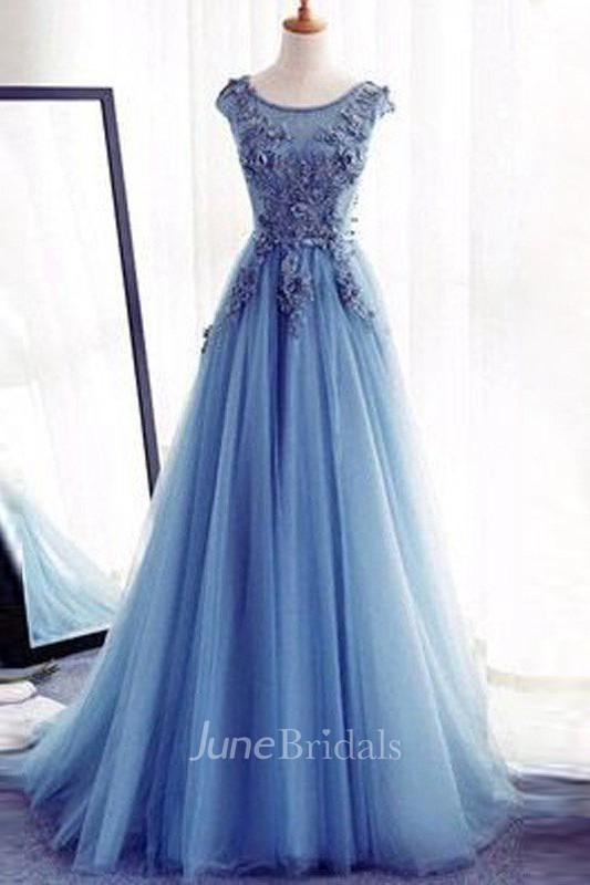A Line Sleeveless Jewel Floor Length Applique Tulle Dress