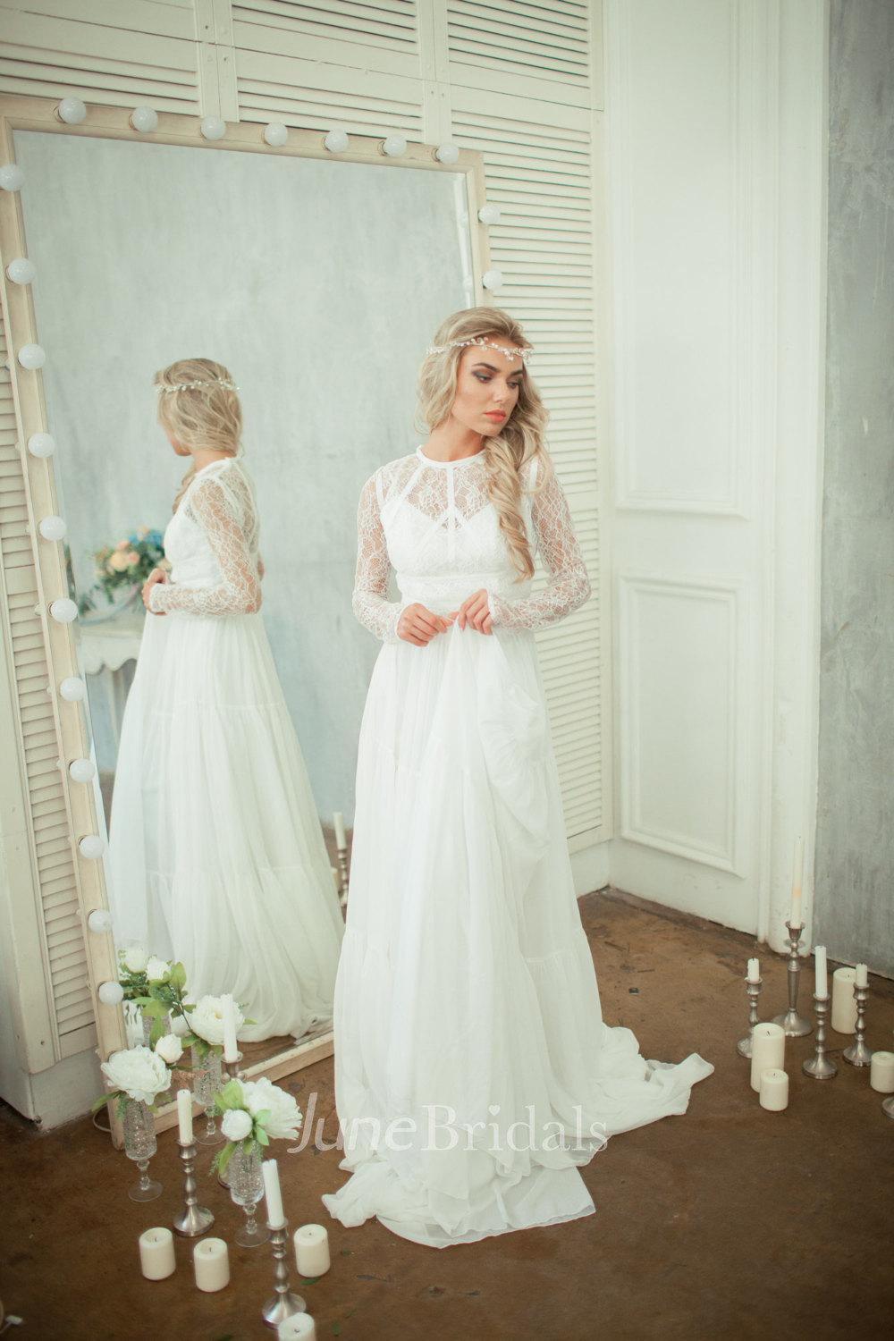 Long sleeve lace bodice chiffon skirt a line wedding dress for Long sleeve chiffon wedding dress