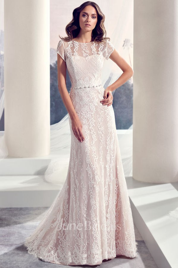 9efa3e1e808f1 Floor-Length Scoop Jeweled Cap-Sleeve Lace Wedding Dress With Brush Train  And V Back - June Bridals