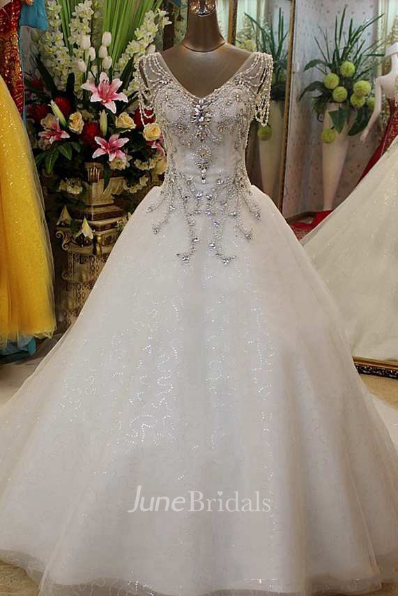 Beaded Short Sleeve Tulle Ball Gown With V Neck June Bridals
