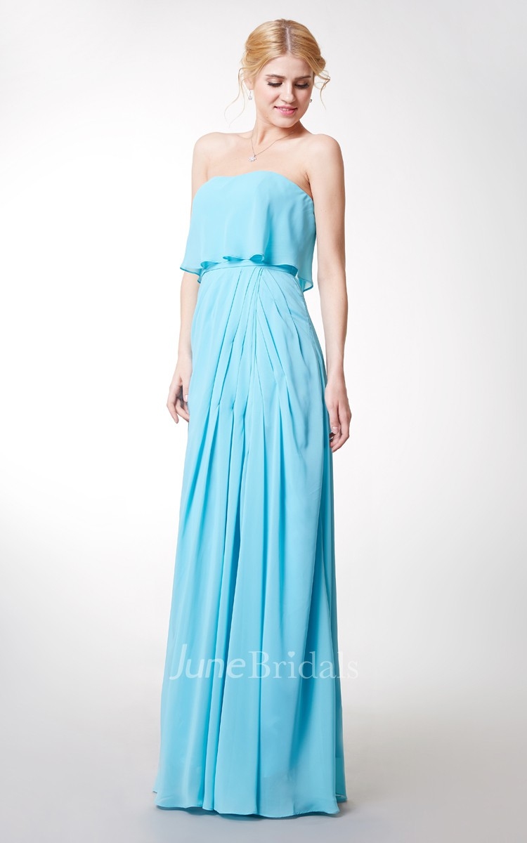Charming Strapless Pleated Long Chiffon Dress With Front Slit - June ...