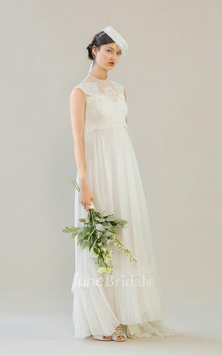 aa3a156f5db8 High Neck 1960S Empire Wedding Dress With Lace Top - June Bridals