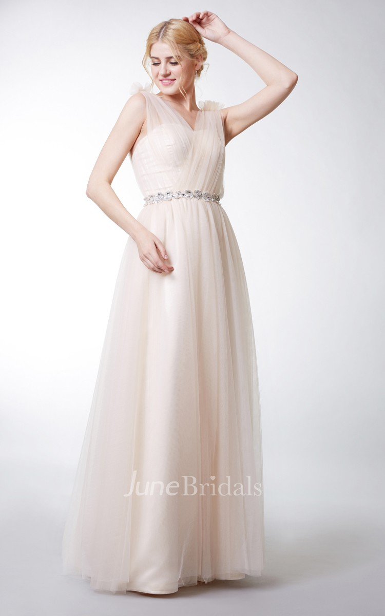 Floral Strap V Neck Tulle Gown With Ruching June Bridals