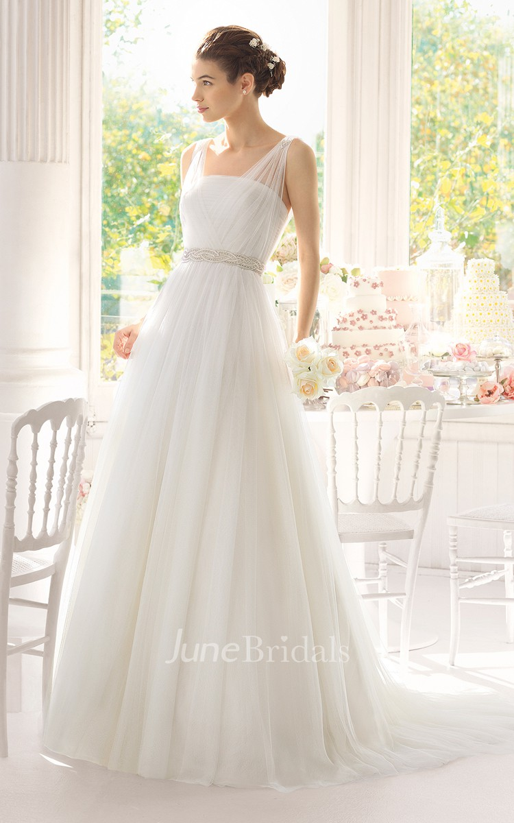 102b45812259 Sleeveless Illusion Straps Long Tulle Dress With Beadings - June Bridals
