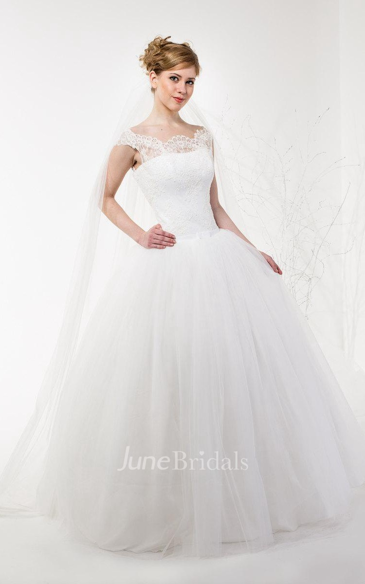 Bateau Neck Cap Sleeve Light As Air Wedding Dress With