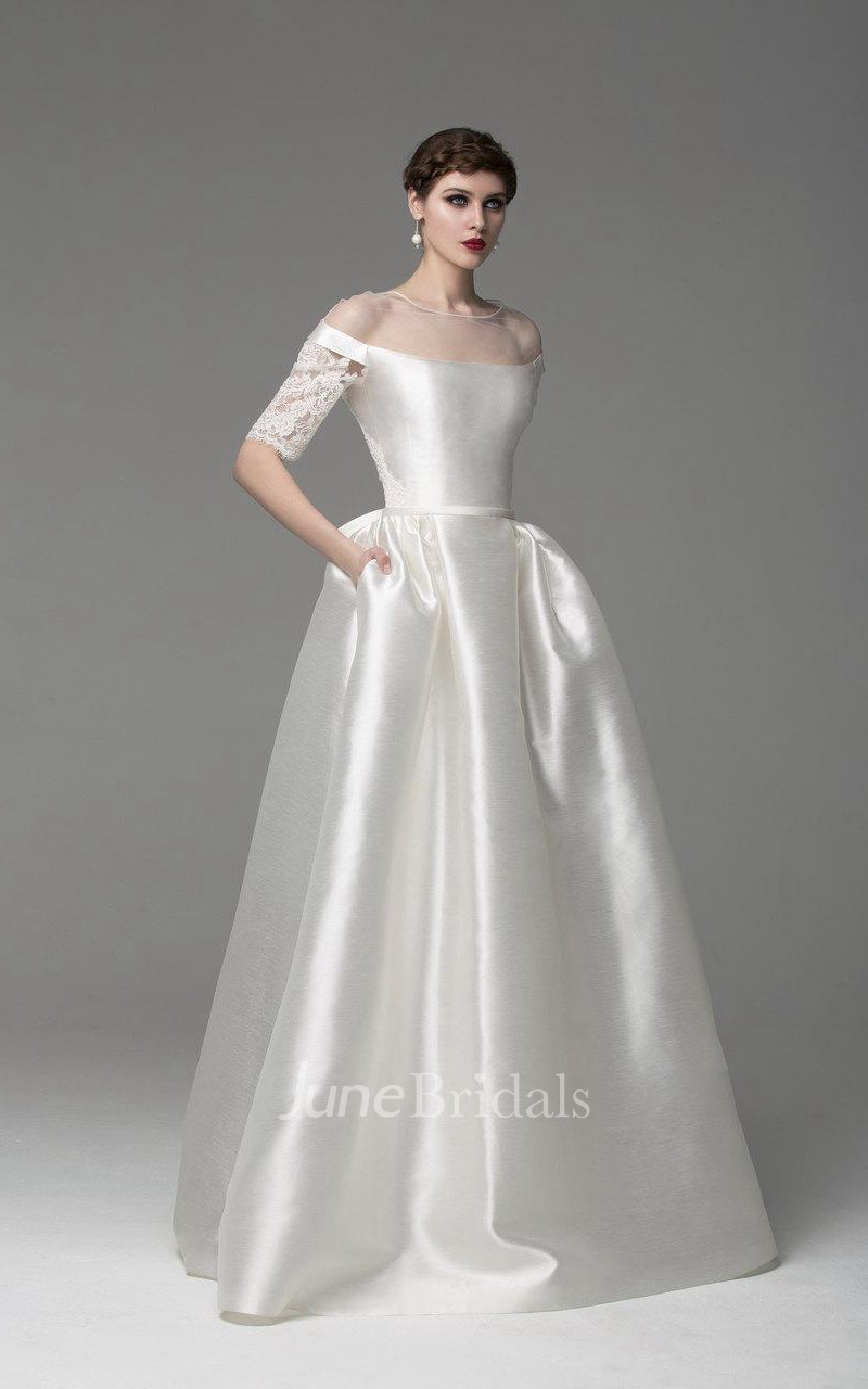 Off shoulder long a line satin wedding dress with lace for Silk wedding dresses with sleeves