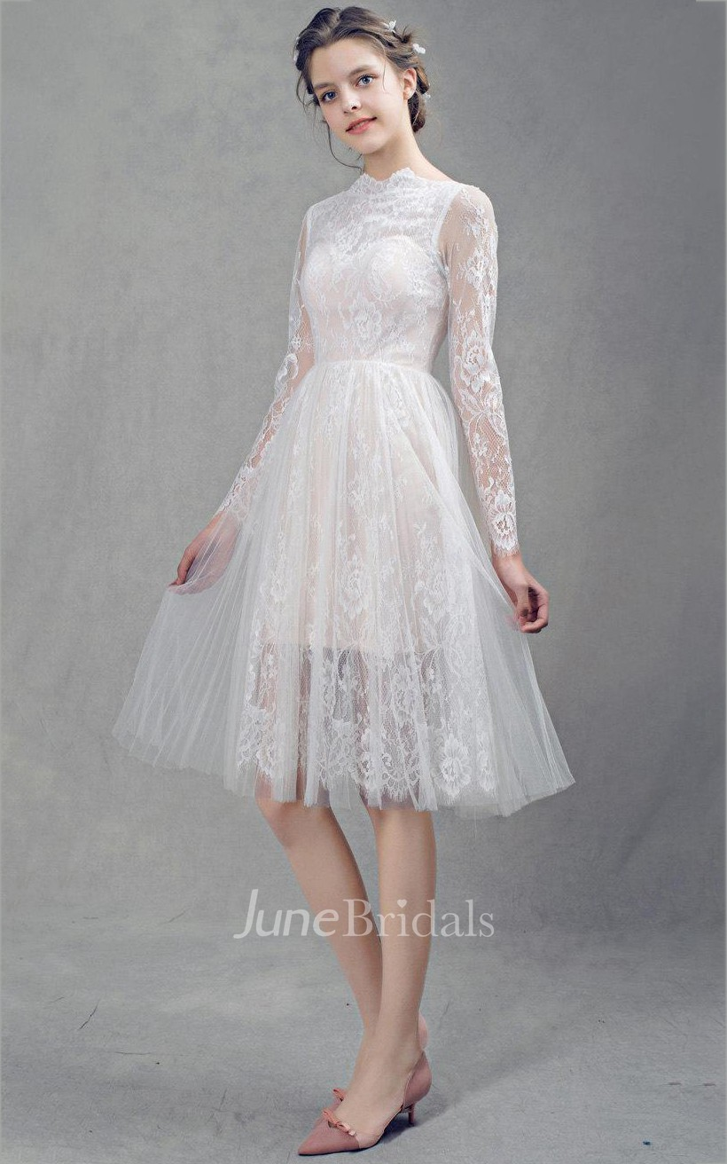 French lace short tulle wedding with sleeves dress june for French lace wedding dress