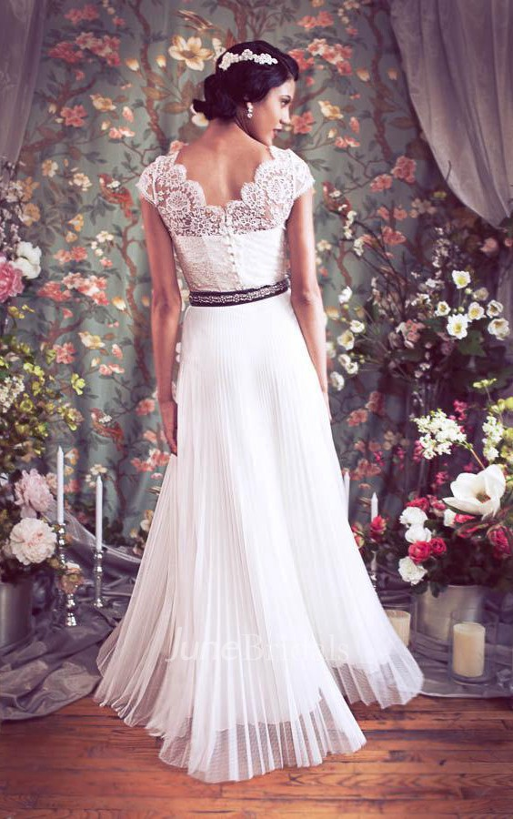 Bateau Cap Button Back Chiffon Wedding Dress With Sash And