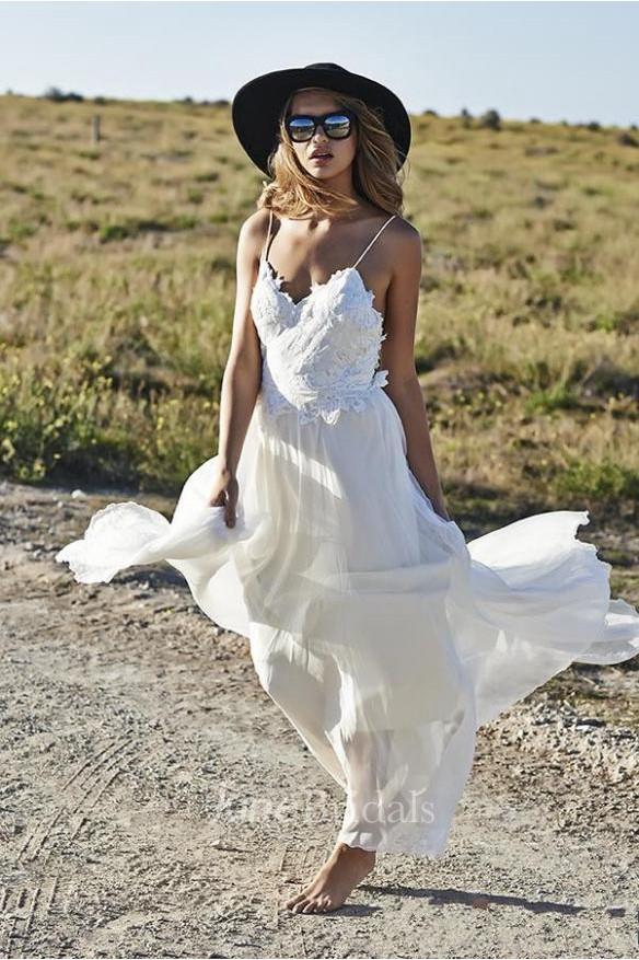 5bc22d3f9ba Simple Spaghetti Straps Chiffon Wedding Dresses Appliques Beach Bridal Gowns