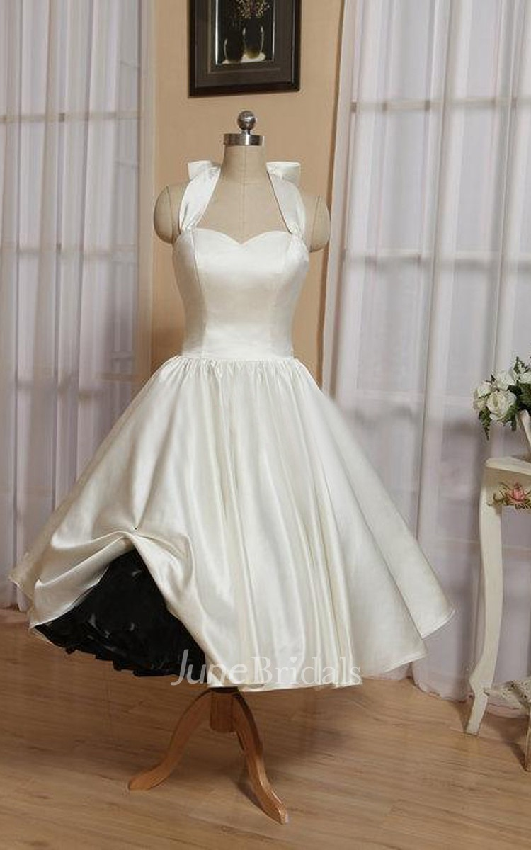 Halter Tea Length Satin Wedding Dress With Bow And Lace Up