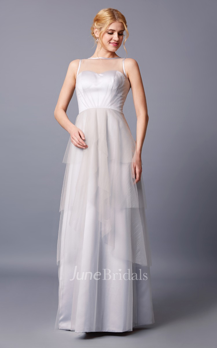 Brilliant Strapless Bateau Neck Layered Long Tulle Dress