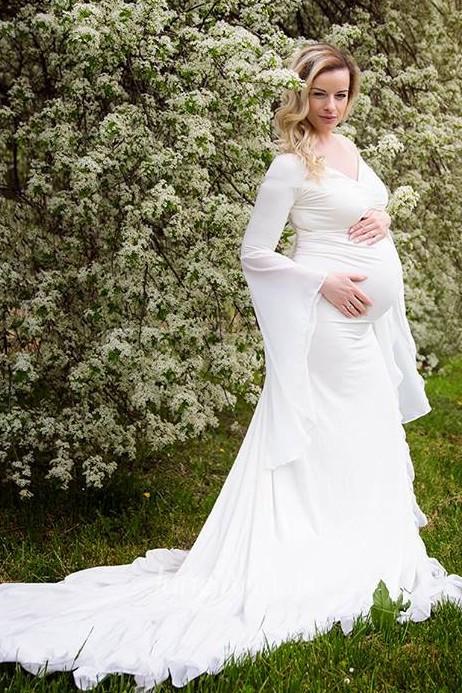 2ec597f0424 Bell Sleeve V-neck Floor Length Jersey Maternity Dress - June Bridals