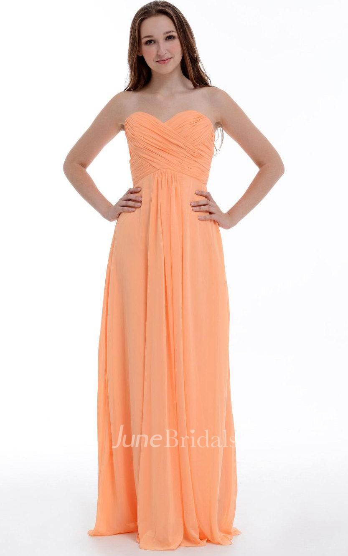 Empire Floor Length Sweetheart Empire Chiffon Dress With