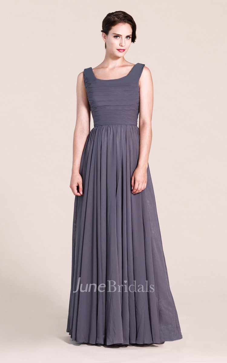 Sleeveless Scoop A-line Long Dress With Ruching - June Bridals