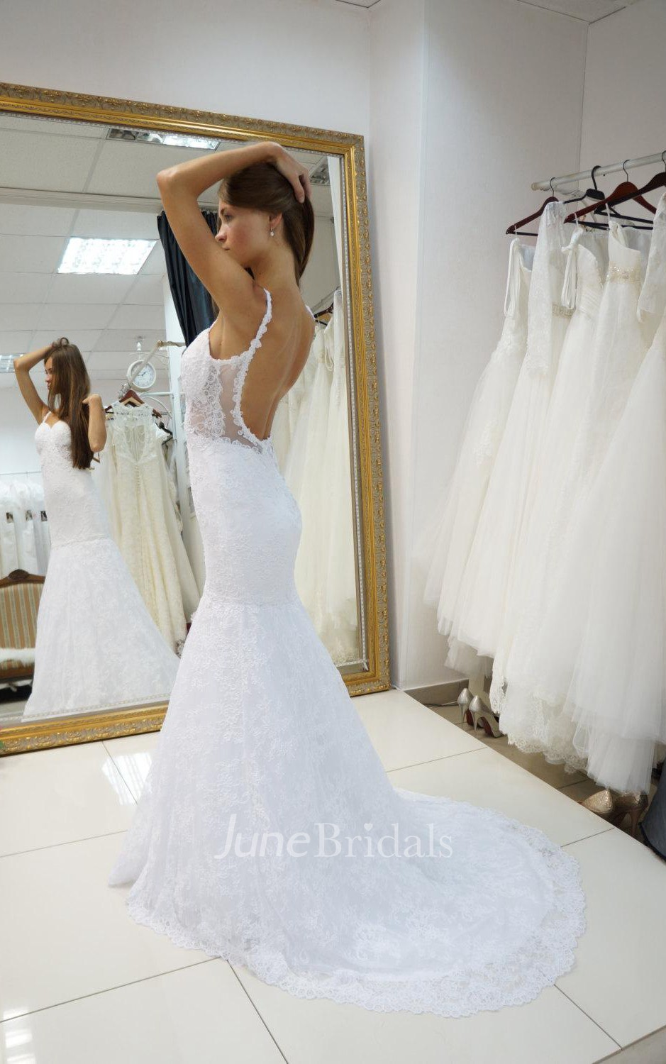 Spaghetti strap backless lace mermaid wedding dress with for Spaghetti strap backless wedding dress