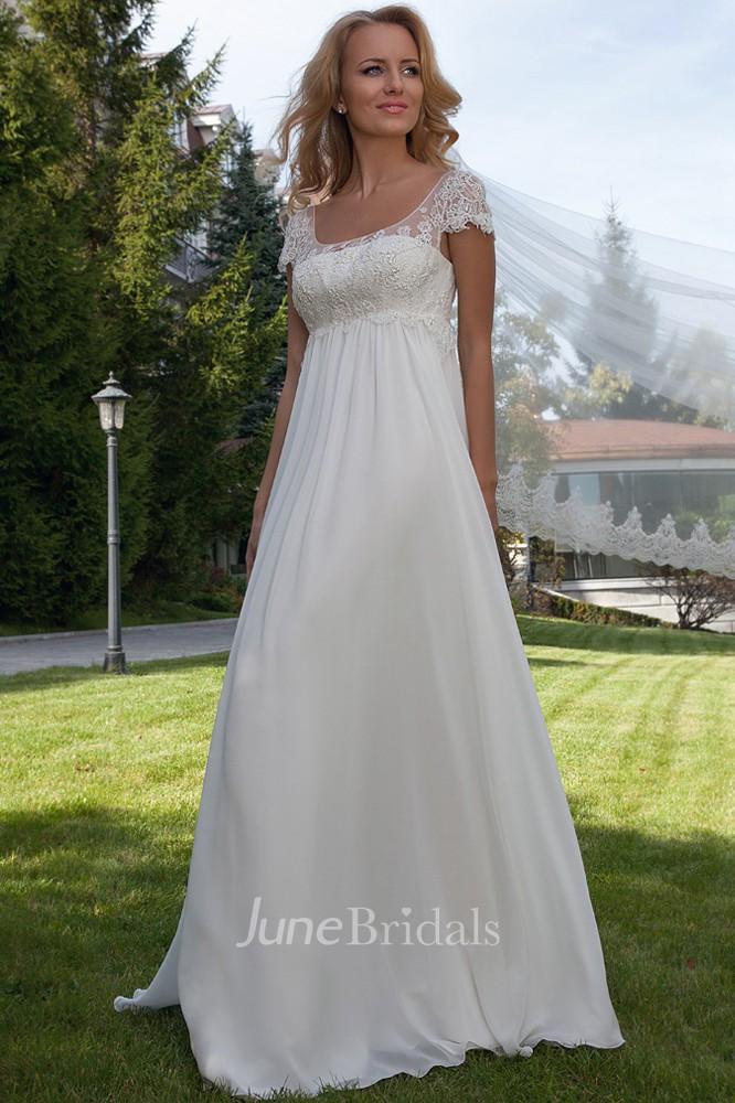 ad6c6f81 Cap Sleeve Appliqued Empire Scoop Neck Chiffon Wedding Dress - June Bridals
