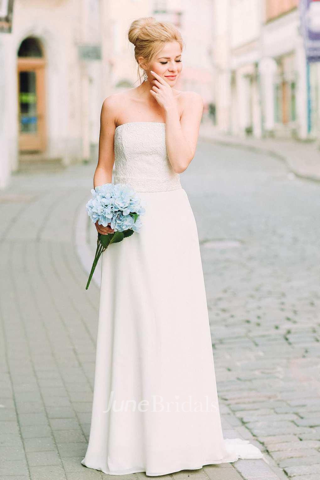 Chiffon Satin Lace Lace Up Corset Back Wedding Dress