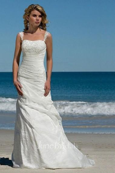 Simple A Line Spaghetti Straps Taffeta Summer Beach Bridal
