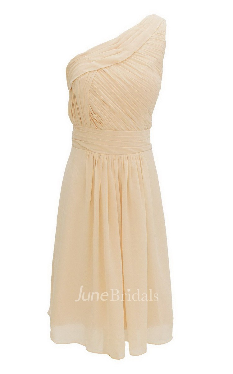 One Shoudler Short Dress With Ruched Waist June Bridals