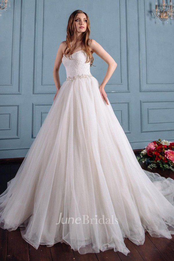 Satin lace lace up corset back wedding dress june bridals for Corset lace up wedding dress