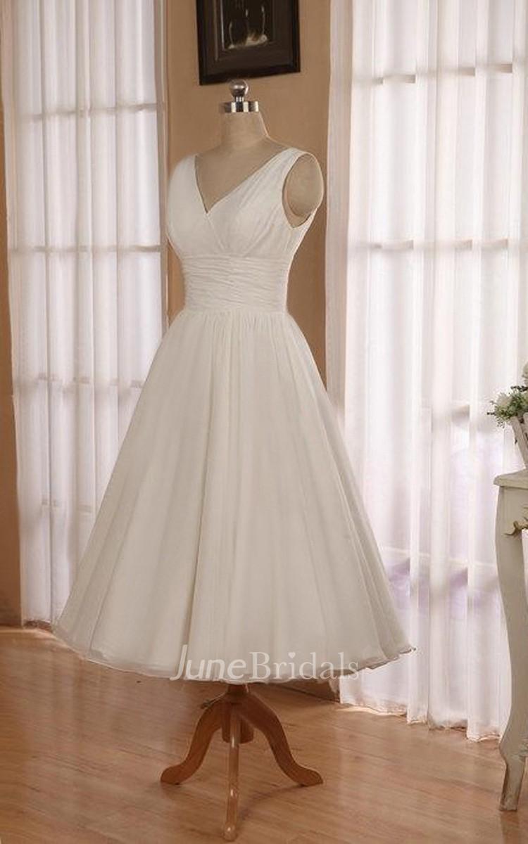 V Neck Sleeveless Tea Length Chiffon Wedding Dress With