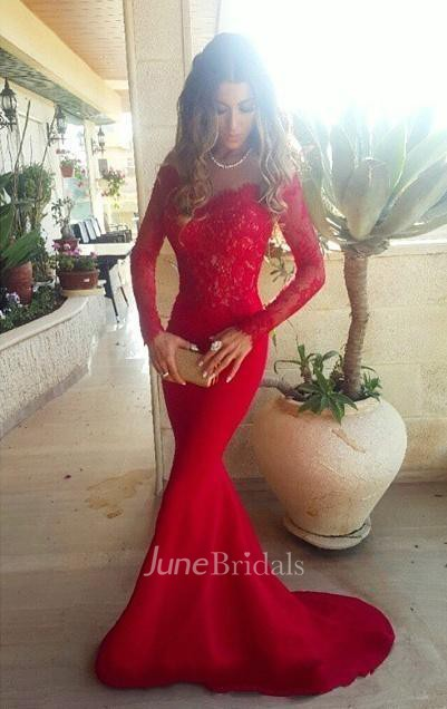 41b153cb1b2f Sexy Red Lace Appliques Mermaid Prom Dress 2018 Sweep Train Long Sleeve -  June Bridals