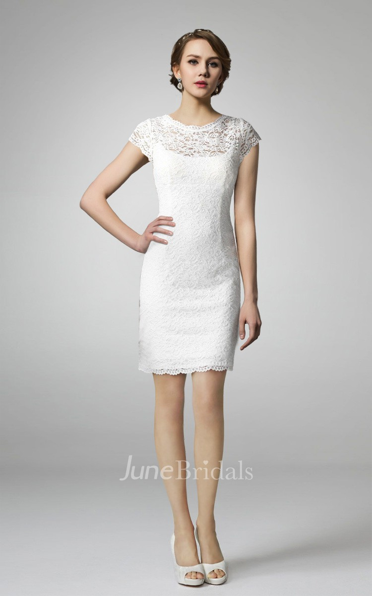 Short sleeve high neck lace wedding dress june bridals for Simple form fitting wedding dresses