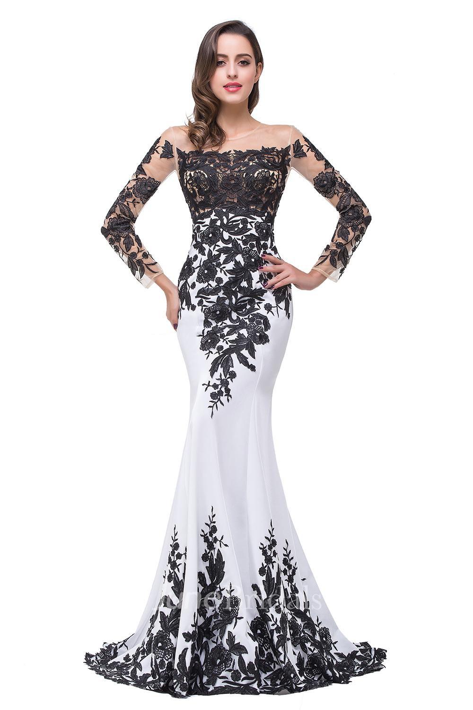 d419efa8e776 Glamorous Long Sleeve Mermaid 2018 Evening Dress Black Appliques Mother  Dress - June Bridals