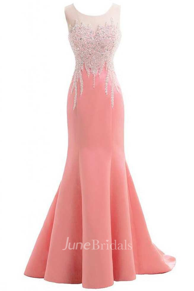Sleeveless Beaded Bodice Mermaid Long Satin Dress With Bow ...