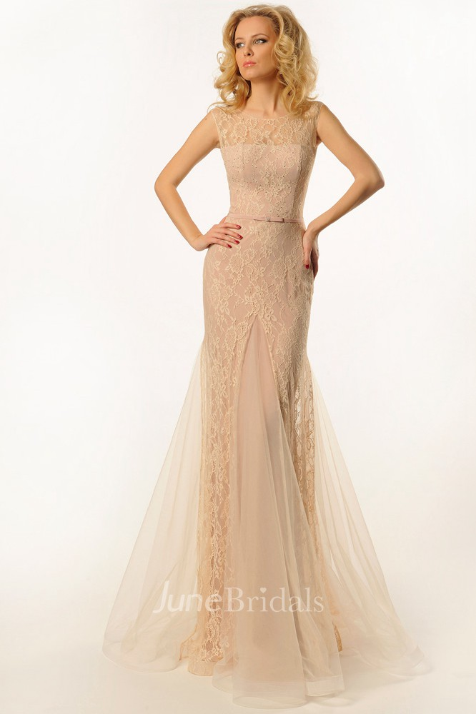 Sheath Scoop Neck Sleeveless Long Tulle Amp Lace Prom Dress