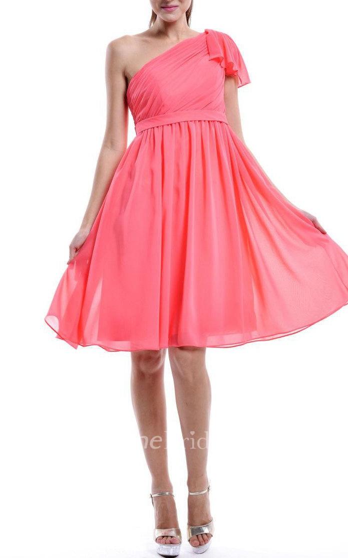 Mini One Shoulder Chiffon Dress June Bridals
