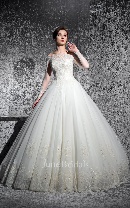 c2001739d Ball Gown Floor-Length Off-The-Shoulder Long-Sleeve Illusion Lace Dress  With Appliques And Beading - June Bridals