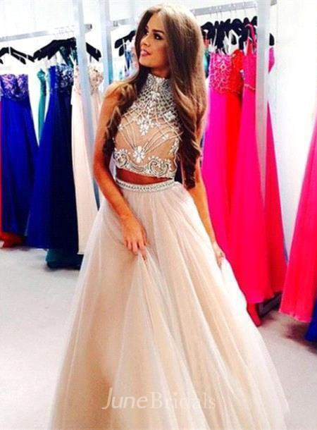 Gorgeous Two Pieces High Neck Prom Dresses 2018 Beadings