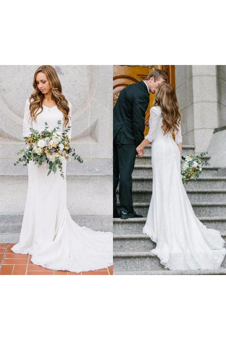 3c0c4684e369 Country Style Vintage Modest Bohemian Lace Chiffon Wedding Gown With Long  Sleeves - June Bridals