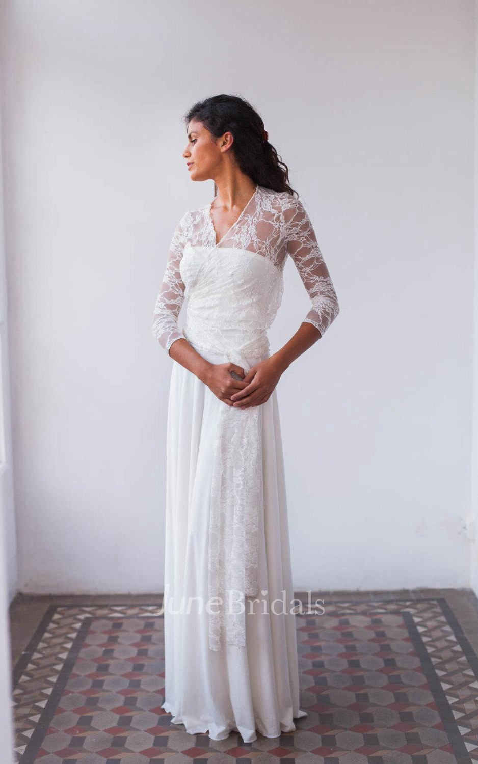 Bohemian long sleeve lace floor length sleeve with draping for Bohemian wedding dress shops