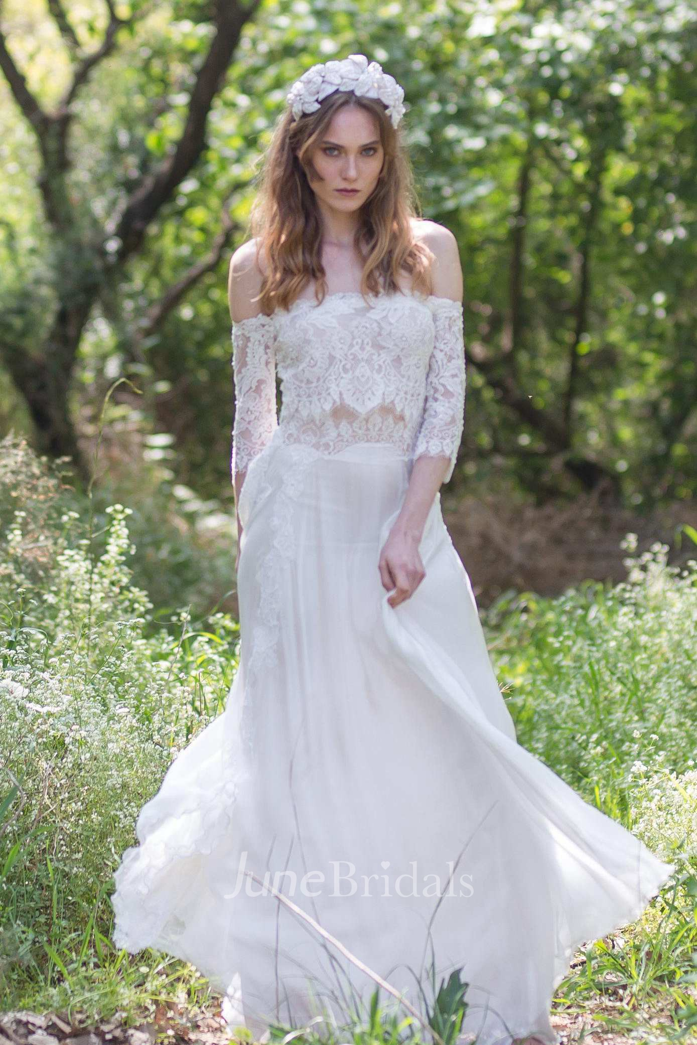 f the shoulder Lace Chiffon Boho Wedding Dress With