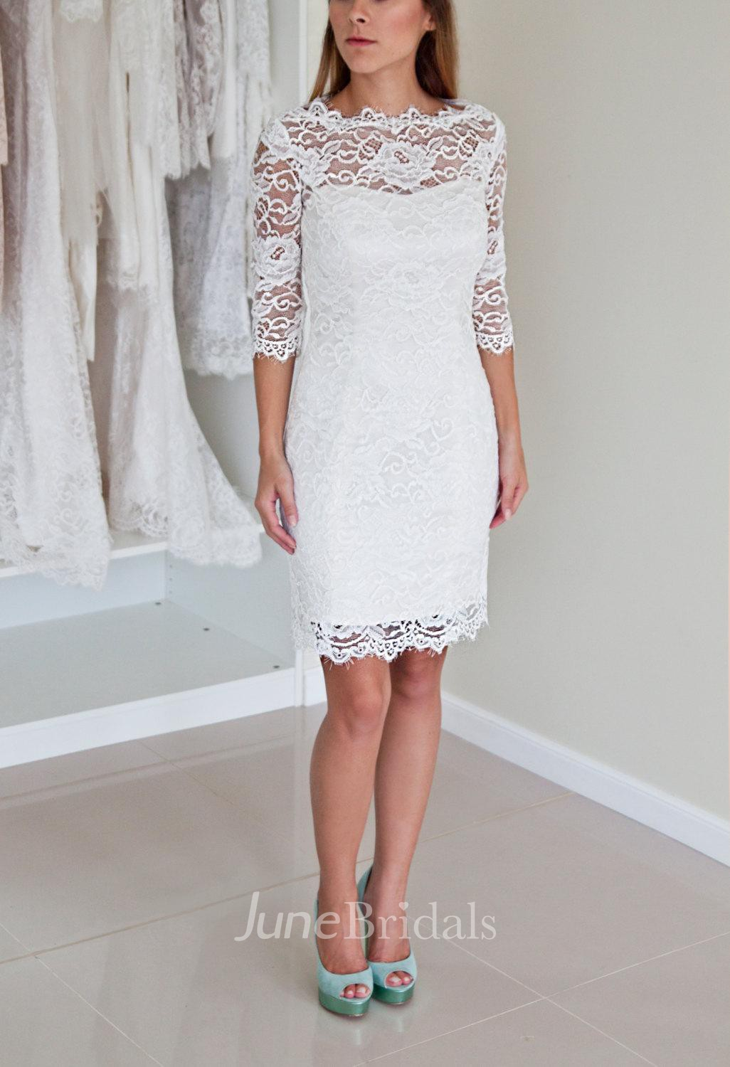 Illusion Neckline Long Sleeve Short Lace Wedding Dress