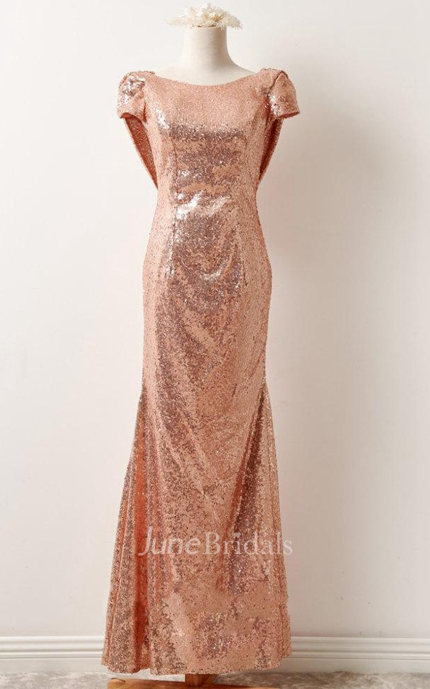 Rose Gold Sequin Prom Bridesmaid Short Sleeve Rose Gold
