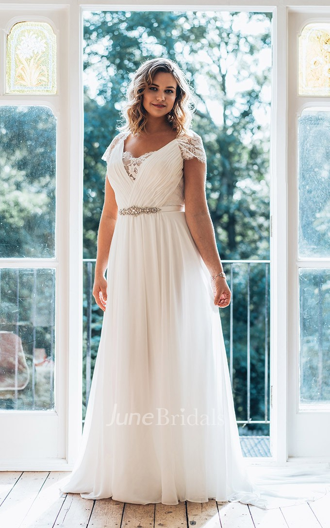 A line long v neck short sleeve chiffon brush train for Wedding dresses for tall plus size