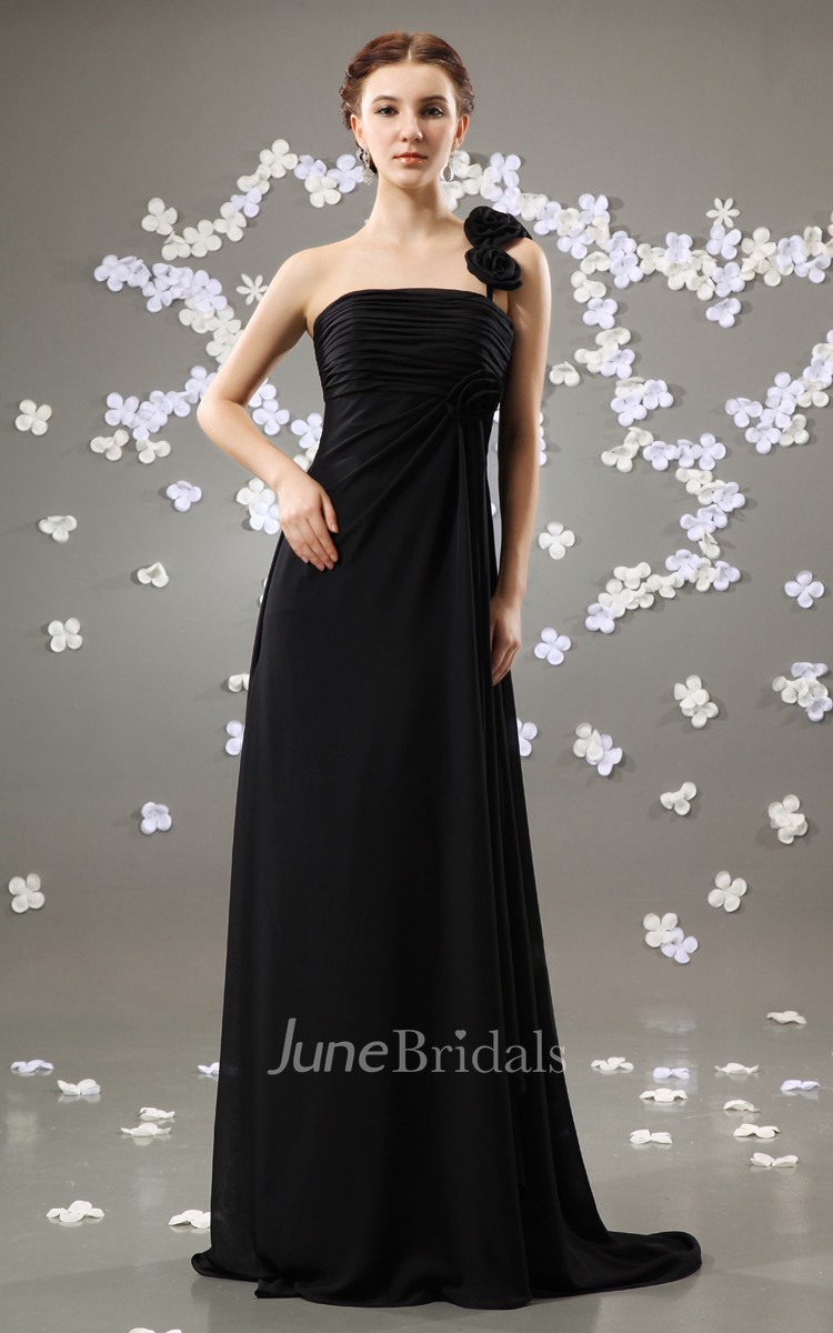 Noble Style Maxi Dress With Draping And Brush Train June