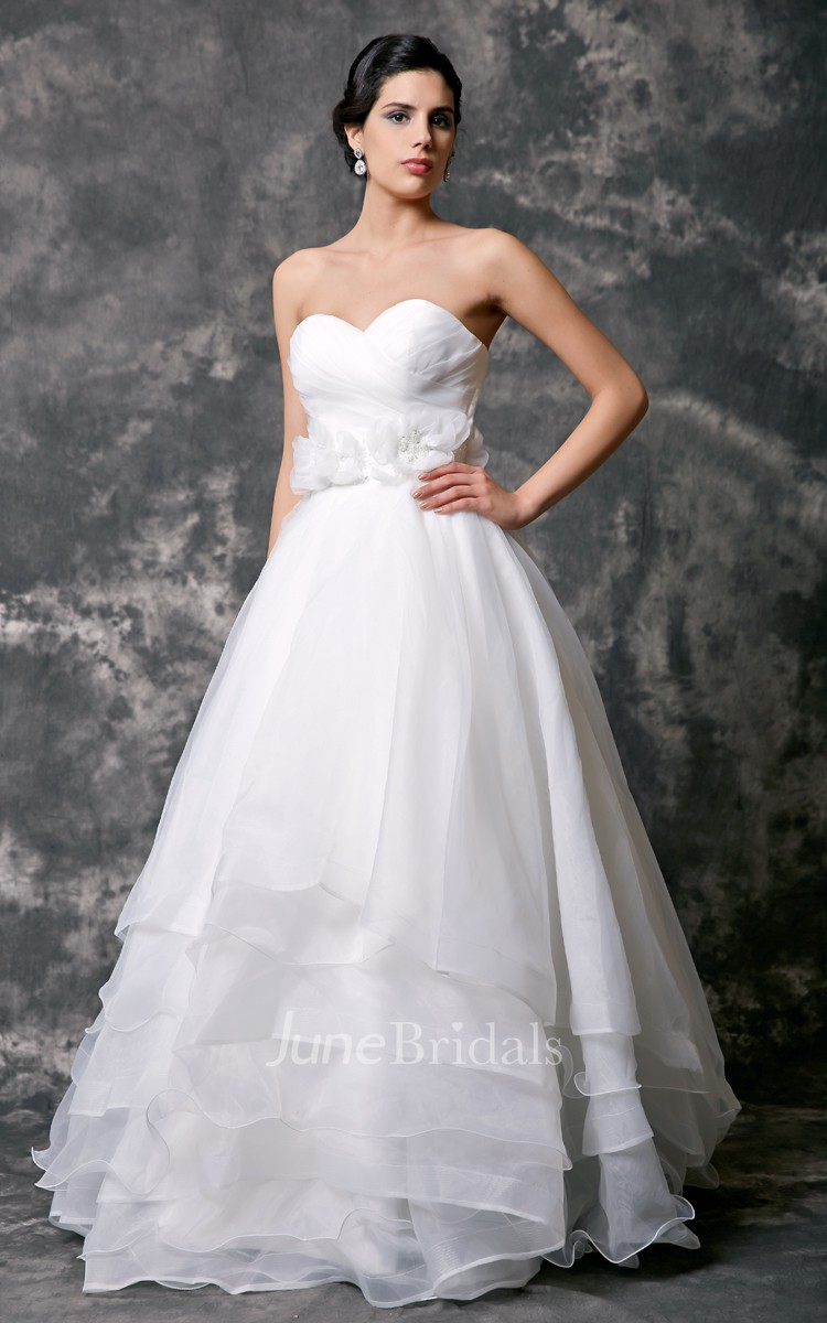 Sweetheart organza layered wedding gown with flowers for Organza layered wedding dress