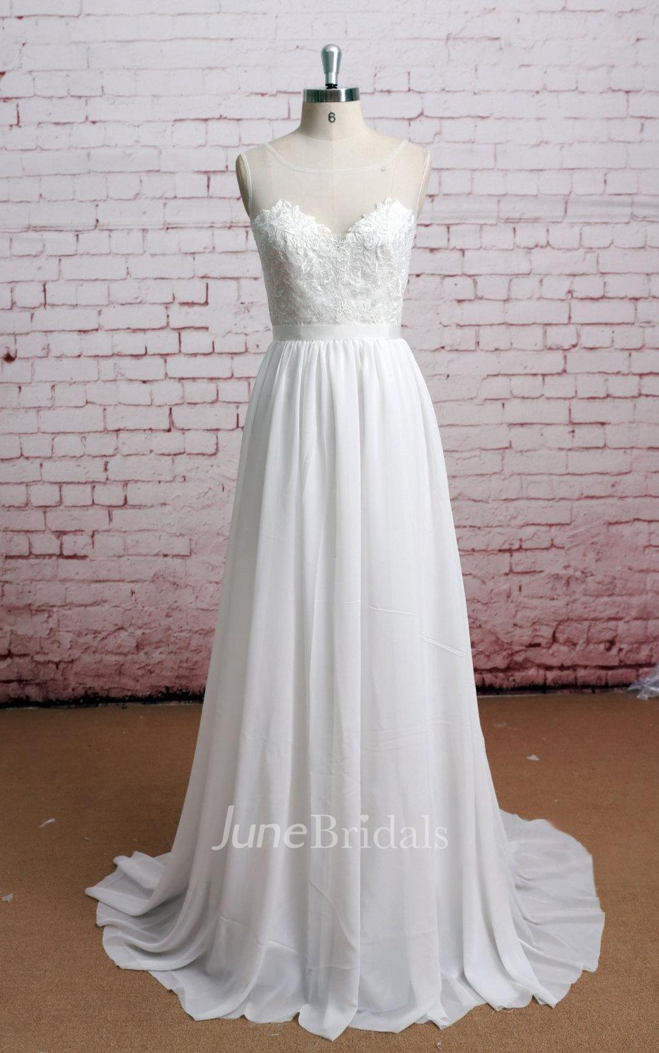cfac12621ee6 Scoop Neck Sheer Back Long A-Line Chiffon Dress With Lace Bodice - June  Bridals