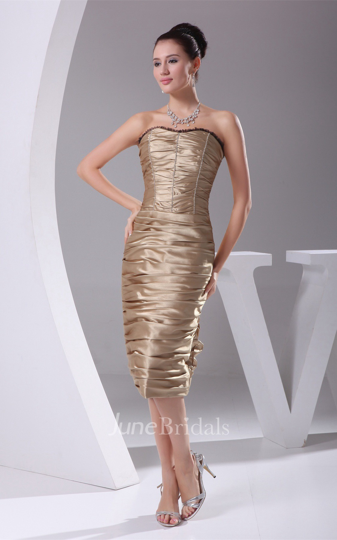 Strapless Knee Length Dress With Overall Ruched Design